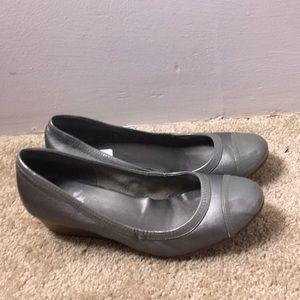 Cole Haan Gray wedge slip in shoe. 9